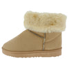 R0012 Beige Faux Fur Fold Over Lug Sole Boot - Wholesale Fashion Shoes