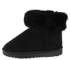 R0012 Black Faux Fur Fold Over Lug Sole Boot - Wholesale Fashion Shoes