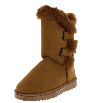 Adele297 Camel Faux Fur Lined Dual Strap Lug Boot - Wholesale Fashion Shoes