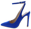 Rae Blue Suede Pointed Toe Cross Ankle Strap Stiletto Heel - Wholesale Fashion Shoes
