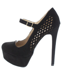 RAVISH33 BLACK MARY JANE MESH HEEL - Wholesale Fashion Shoes - 1