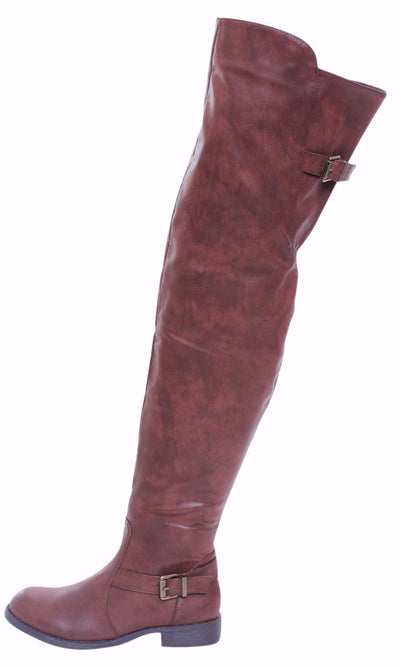 Renee13 Brown Pu Thigh High Riding Boot - Wholesale Fashion Shoes