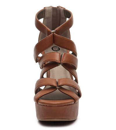 Aaliyan072 Cocoa Pu Strappy Open Toe Platform Wedge - Wholesale Fashion Shoes
