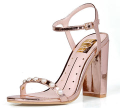 ROSALIND13 ROSE GOLD METALLIC PU WOMEN'S HEEL - Wholesale Fashion Shoes
