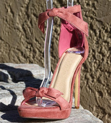 SARA246 DUSTY PINK TIED OPEN TOE ANKLE STRAP STILETTO HEEL - Wholesale Fashion Shoes