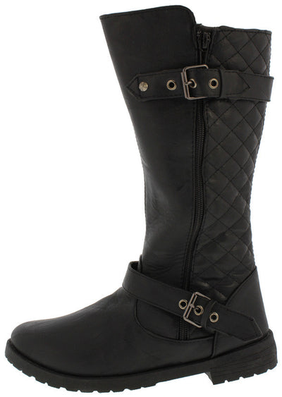 Royal001 Black Dual Buckle Quilted Lug Boot - Wholesale Fashion Shoes