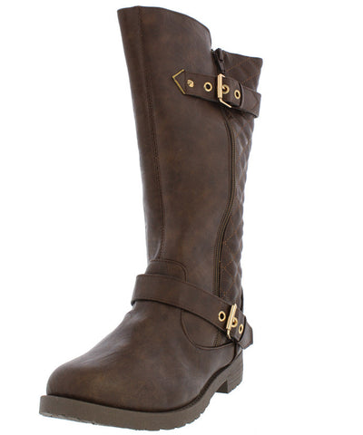 Royal001 Coffee Dual Buckle Quilted Lug Boot - Wholesale Fashion Shoes