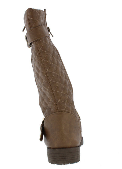 Royal001 Tan Dual Buckle Quilted Lug Boot - Wholesale Fashion Shoes