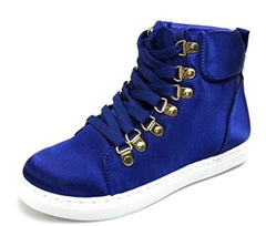 Samantha136 Blue Satin Lace Up High Top Sneaker Flat - Wholesale Fashion Shoes
