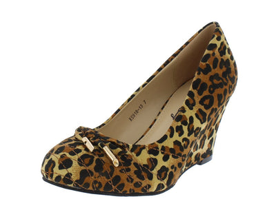 Rs91813 Leopard Quilted  Gold Aglet Bow Almond Toe Wedge - Wholesale Fashion Shoes