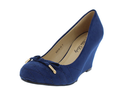 Rs91813 Navy Quilted  Gold Aglet Bow Almond Toe Wedge - Wholesale Fashion Shoes