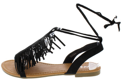 Ruffle18 Black Fringe Lace Up Ankle Sandal - Wholesale Fashion Shoes