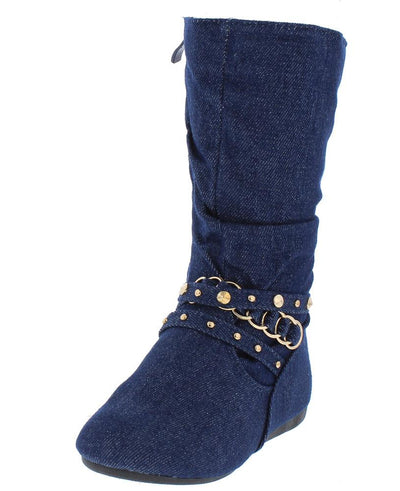 Rachel13k Blue Denim Almond Toe Metallic Detail Strap Kids Boot - Wholesale Fashion Shoes