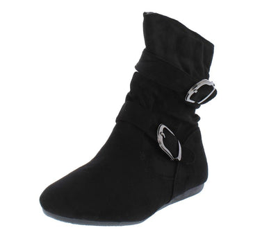 Rachel17 Black Slouchy Side Buckle Ankle Boot - Wholesale Fashion Shoes