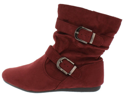 Rachel17 Burgundy Slouchy Side Buckle Ankle Boot - Wholesale Fashion Shoes