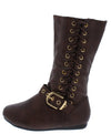 Rachel65k Brown Side Lace Up Buckle Strap Kids Boot - Wholesale Fashion Shoes
