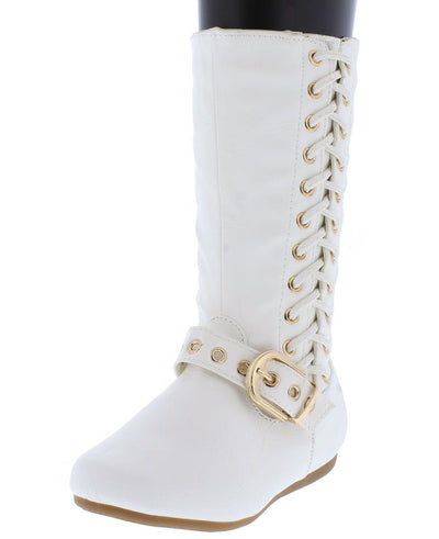 Rachel65k White Side Lace Up Buckle Strap Kids Boot - Wholesale Fashion Shoes