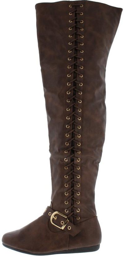 Rachel85 Brown Buckle Strap Side Lace Up Boot - Wholesale Fashion Shoes