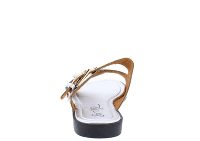 Rachel Silver Metallic Gold Buckle Slide on Sandal - Wholesale Fashion Shoes