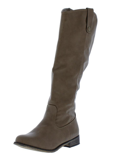 Racho01kh Beige Almond Toe Knee High Riding Boot - Wholesale Fashion Shoes