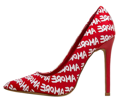 Radar Red Amore Printed Pointed Toe Stiletto Pump Heel - Wholesale Fashion Shoes