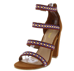 RAMPAGE90S CHESTNUT COLORFUL EMBROIDERED STRAPPY HEEL - Wholesale Fashion Shoes