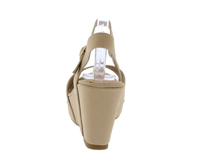 Range23s Nude Rivet Sole Open Toe Slingback Wedge - Wholesale Fashion Shoes