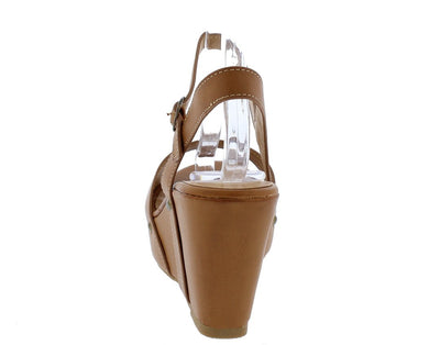 Range23s Natural Rivet Sole Open Toe Slingback Wedge - Wholesale Fashion Shoes