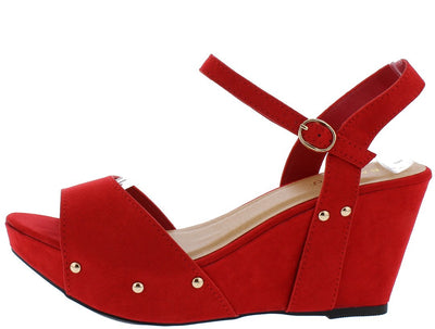 Range23s Red Rivet Sole Open Toe Slingback Wedge - Wholesale Fashion Shoes