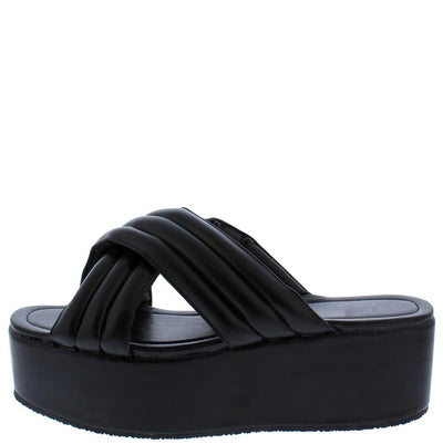 Tania016 Black Quilted Cross Band Platform Slide Sandal - Wholesale Fashion Shoes
