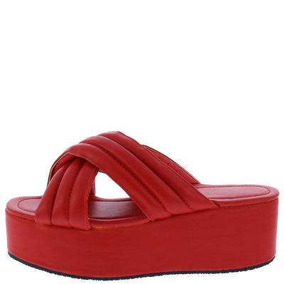 Tania016 Red Quilted Cross Band Platform Slide Sandal - Wholesale Fashion Shoes