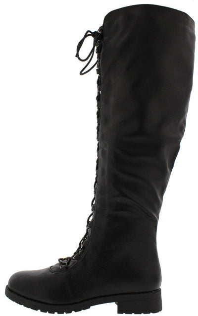 Travis05b Black Pu Lug Sole Front Lace Up Knee High Boot - Wholesale Fashion Shoes