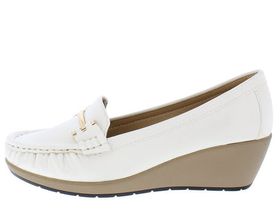 Raxana06 White Gold Metallic Accent Loafer Wedge - Wholesale Fashion Shoes