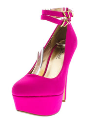 REALOVE05 MAGENTA DOUBLE ANKLE STRAP HEEL - Wholesale Fashion Shoes
