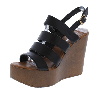 Rebeca02 Black Strappy Open Toe Slingback Platform Wedge - Wholesale Fashion Shoes