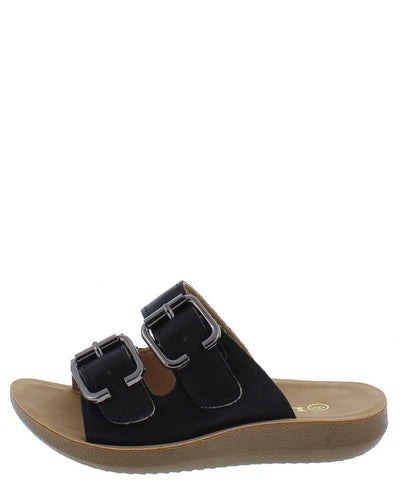 Recent02k Black Open Toe Dual Buckle Strap Slide Kids Sandal - Wholesale Fashion Shoes