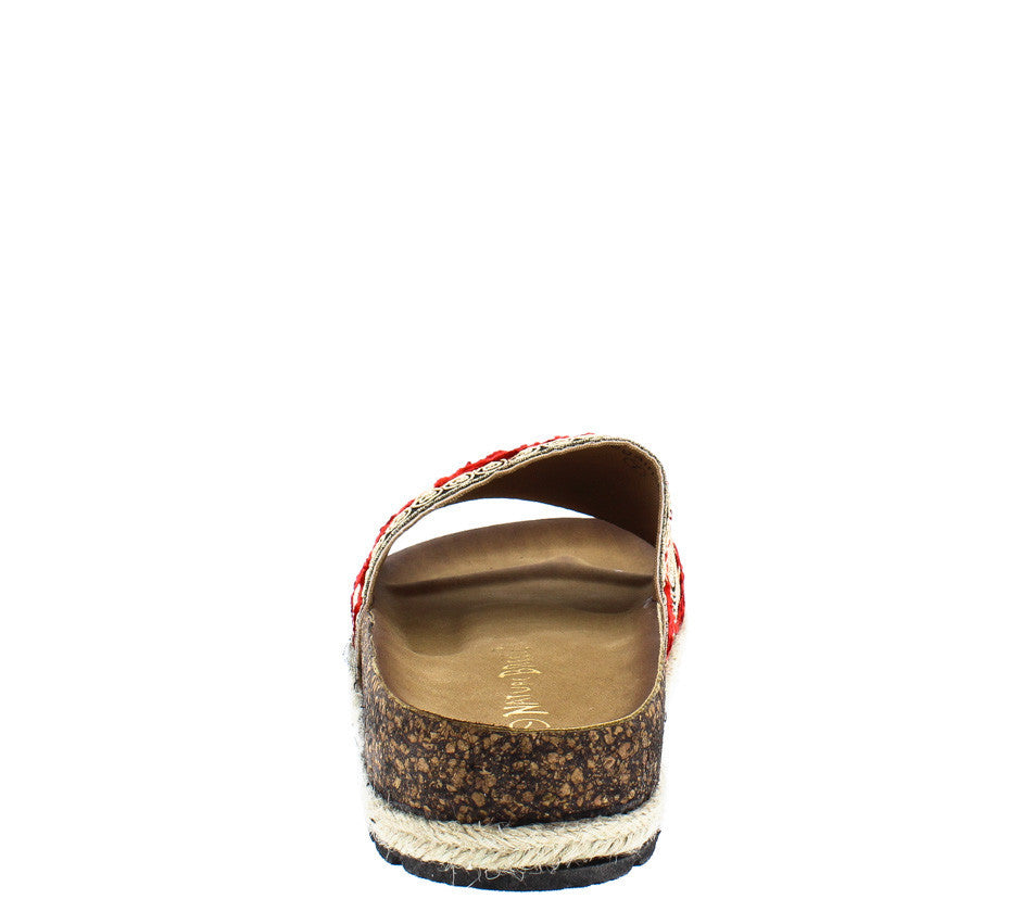 Sandals and shoes wholesale -  Regain03 Red Embroidered Swirl Slide On Braid Sandal Wholesale Fashion Shoes