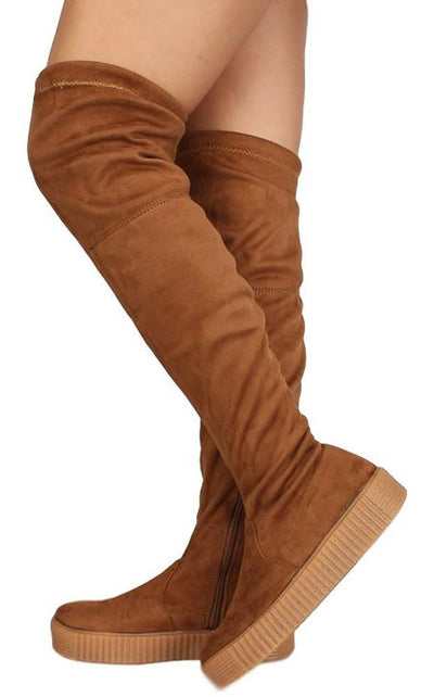 Regan45 Tan Fitted Over The Knee Sneaker Boot - Wholesale Fashion Shoes