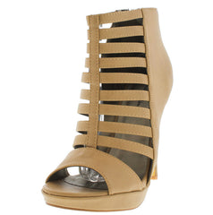 NATHALY NATURAL CAGED PEEP TOE HEEL - Wholesale Fashion Shoes