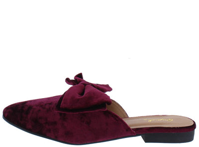 Regent14X Wine Crush Velvet Bow Almond Toe Mule Flat - Wholesale Fashion Shoes