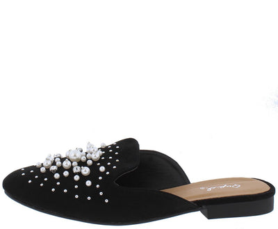 Regent31x Black Rhinestone Pearl Embellished Mule Loafer Flat - Wholesale Fashion Shoes