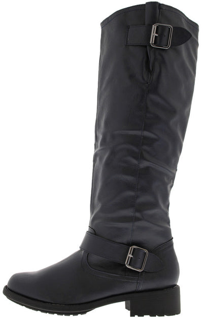Relax122 Blue Buckle Riding Moto Boot - Wholesale Fashion Shoes
