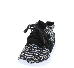 RELAXM9K BLACK HIGH TOP LACE UP SNEAKER KIDS FLAT - Wholesale Fashion Shoes - 2
