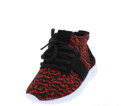 RELAXM9K RED HIGH TOP LACE UP SNEAKER KIDS FLAT - Wholesale Fashion Shoes - 2