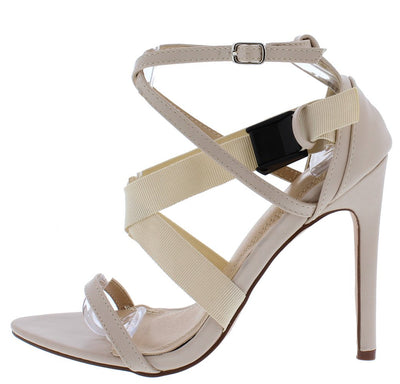 Bianca095 Nude Open Toe Cross Strap Clip Stiletto Heel - Wholesale Fashion Shoes