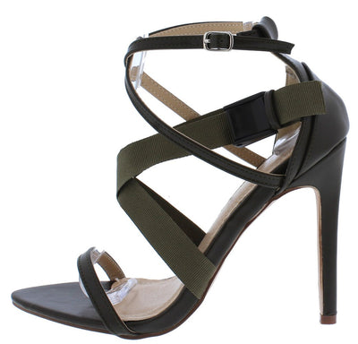 Bianca095 Olive Open Toe Cross Strap Clip Stiletto Heel - Wholesale Fashion Shoes