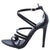 Adele210 Black Strappy Pointed Open Toe Stiletto Heel