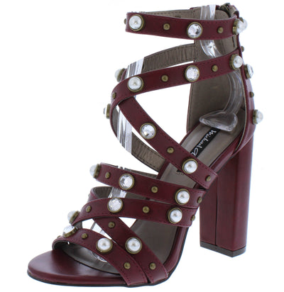 Isabella034 Cranberry Pearl Rhinestone Stud Strappy Block Heel - Wholesale Fashion Shoes