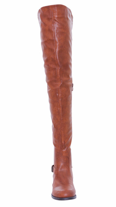 Renee13 Cognac Pu Thigh High Riding Boot - Wholesale Fashion Shoes