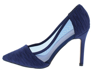 0191220ca4f Renzo116 Navy Mesh Gather Textured Pointed Toe Stiletto Heel - Wholesale  Fashion Shoes